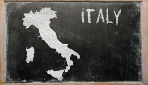 outline map of italy on blackboard